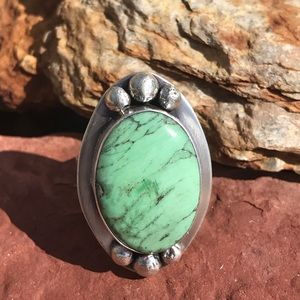 Beautiful Sterling Royston Turquoise Ring Sz 12